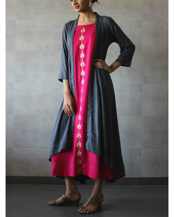 Charcoal cape and hot pink kurta set 1