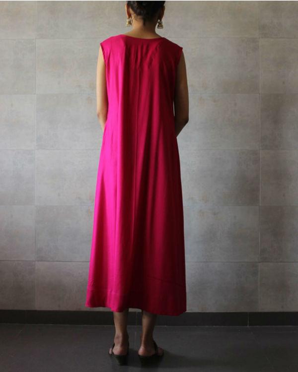 Hot pink sleeveless a-line kurta 2
