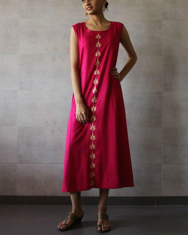 Hot pink sleeveless a-line kurta 1
