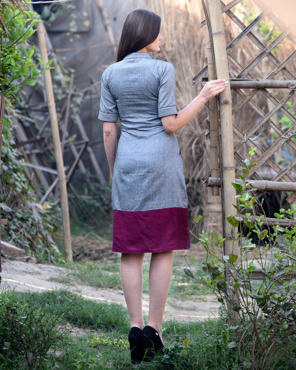 Grey and maroon bordered dress 1