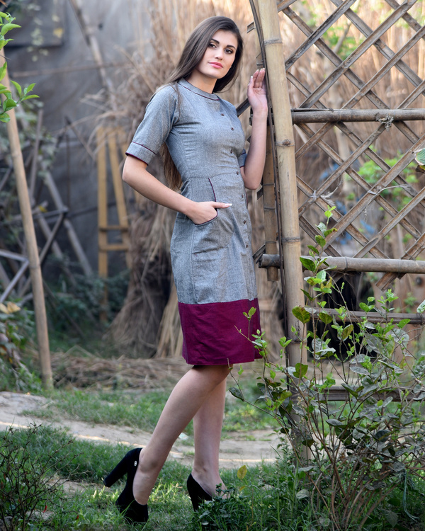 Grey and maroon bordered dress 3