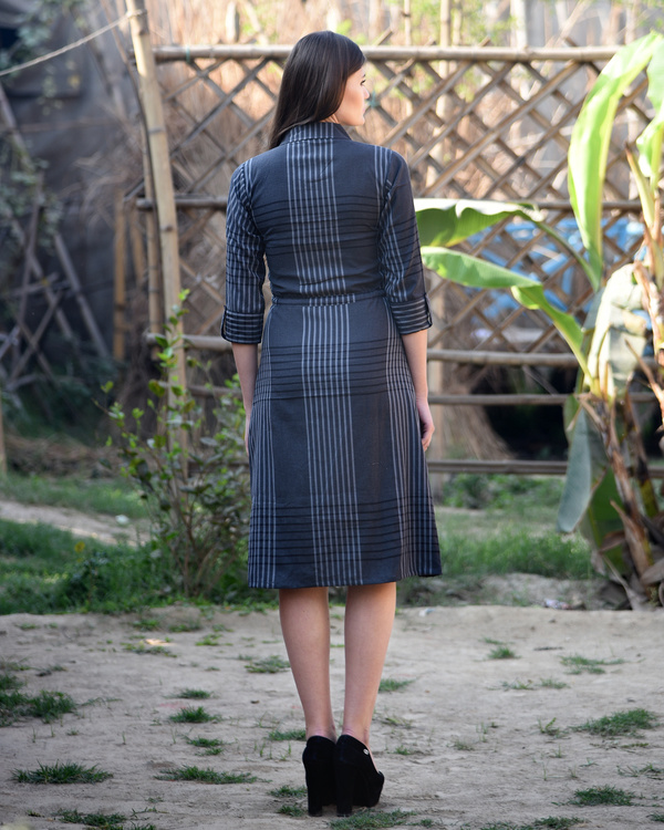 Grey checked shirt dress 2