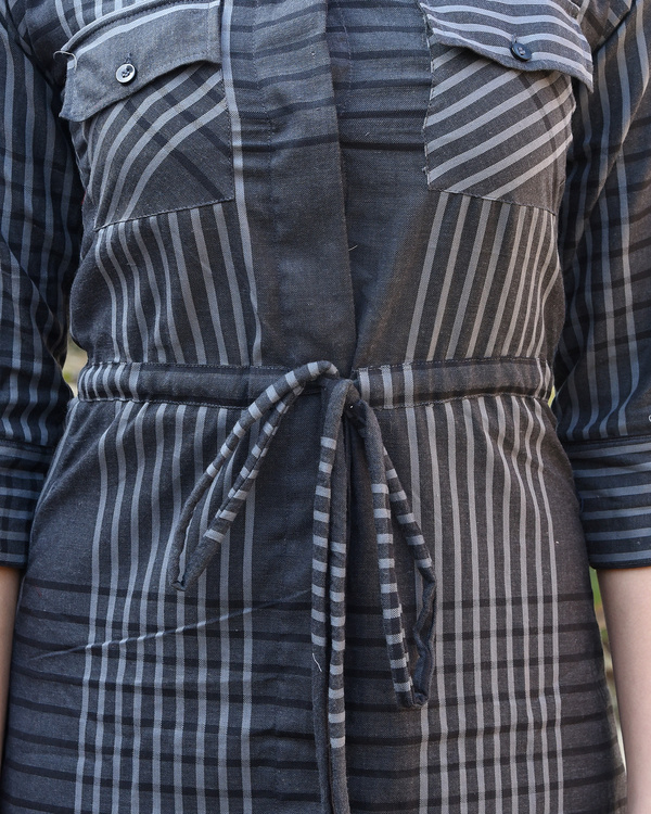 Grey checked shirt dress 1