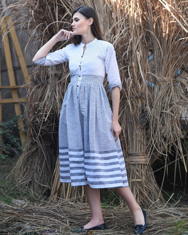 White and grey striped dress 1