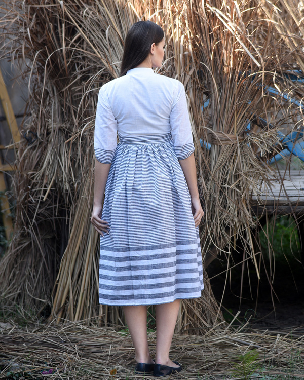 White and grey striped dress 2