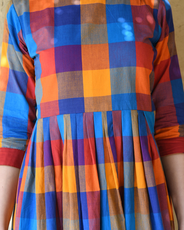 Multicolor checks dress 1
