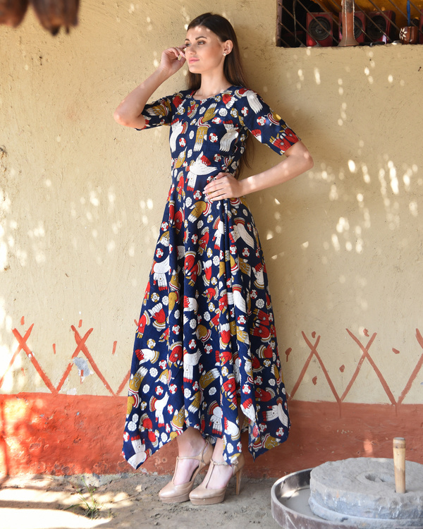 Navy blue kalamkari dress 1