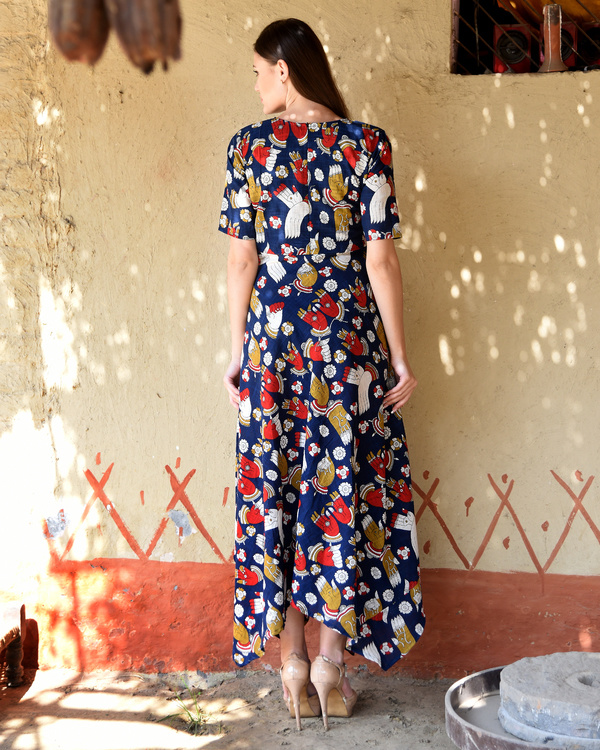 Navy blue kalamkari dress 2
