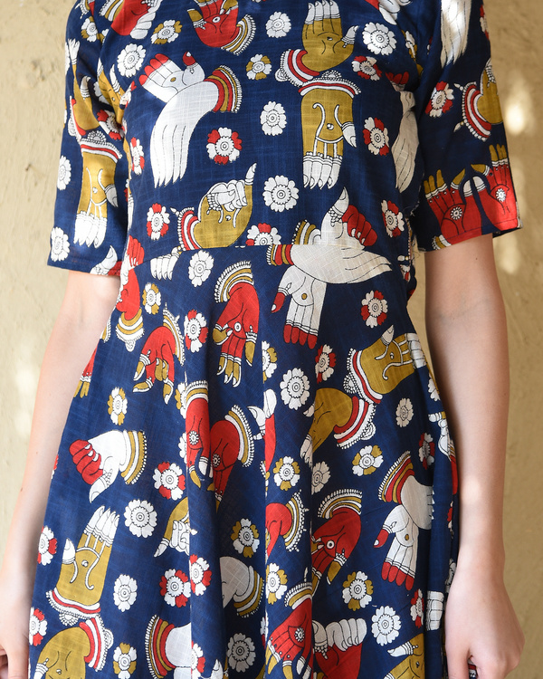 Navy blue kalamkari dress 3