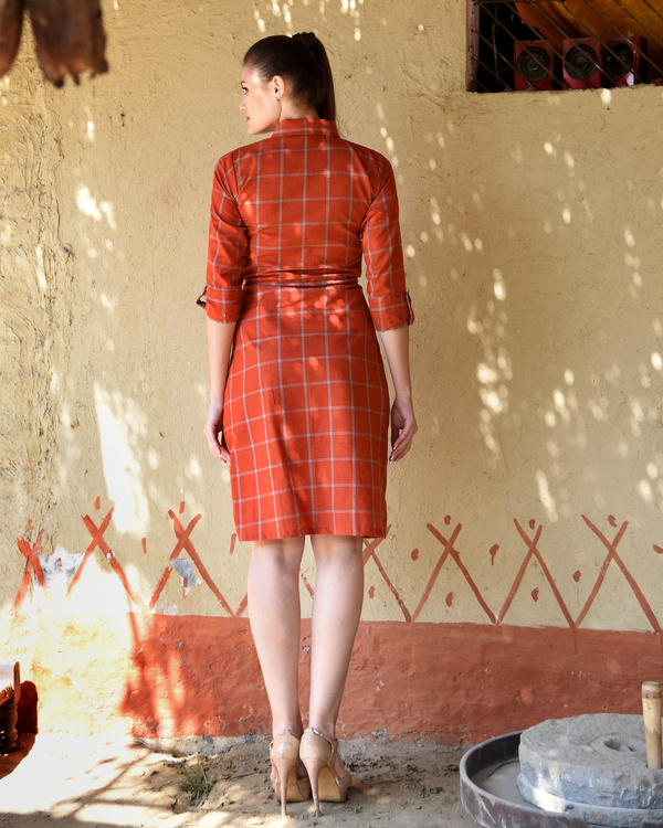 Rust checked shirt dress 3
