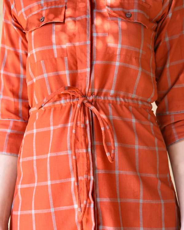Rust checked shirt dress 2
