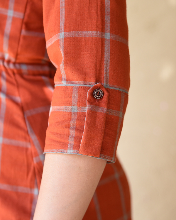 Rust checked shirt dress 4