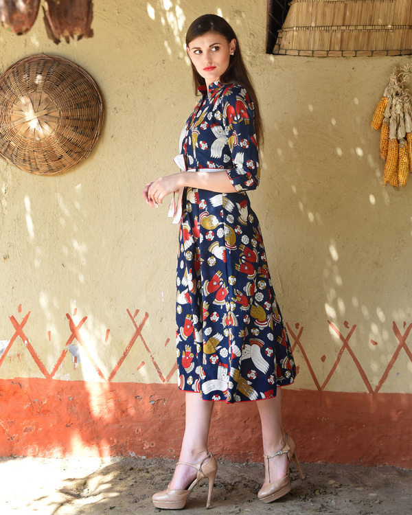 Navy blue kalamkari flared midi 3