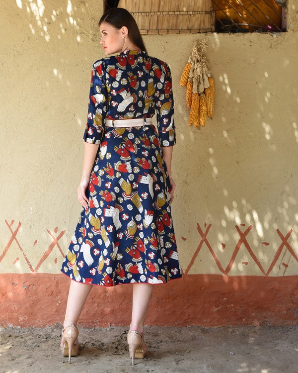Navy blue kalamkari flared midi 2
