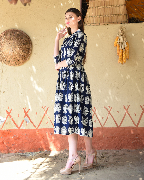 Navy blue knife pleated kalamkari dress 1