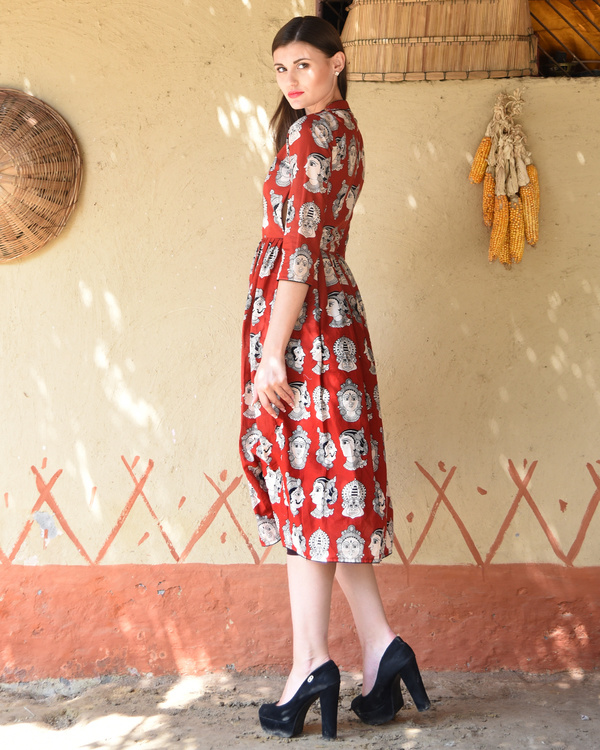 Rust knife pleated kalamkari dress 3