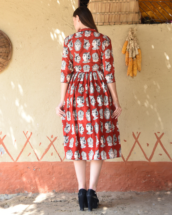 Rust knife pleated kalamkari dress 2