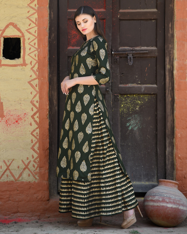 Green block printed kurta with striped palazzos 1