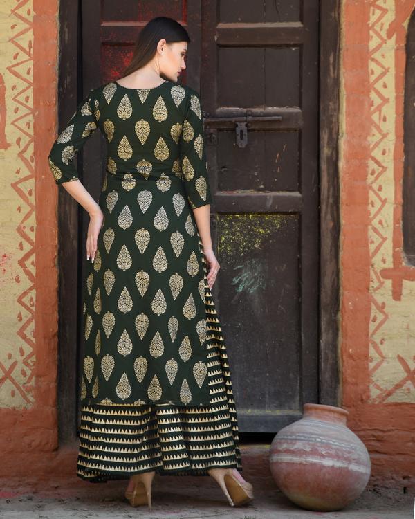 Green block printed kurta with striped palazzos 2