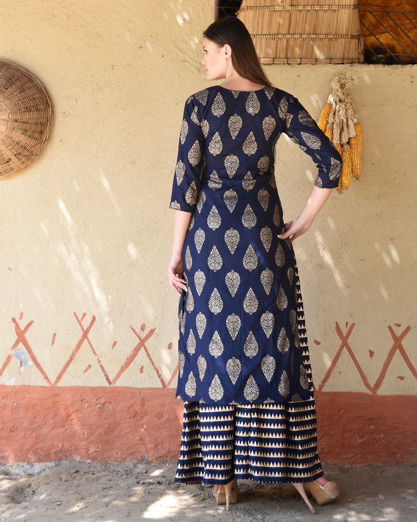 Navy blue block printed kurta with striped palazzos 2