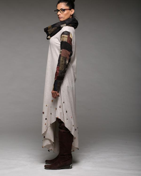 Cowl neck patchwork dress 2