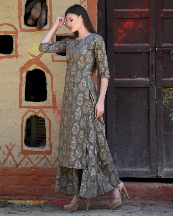 Grey block printed kurta with palazzos 1