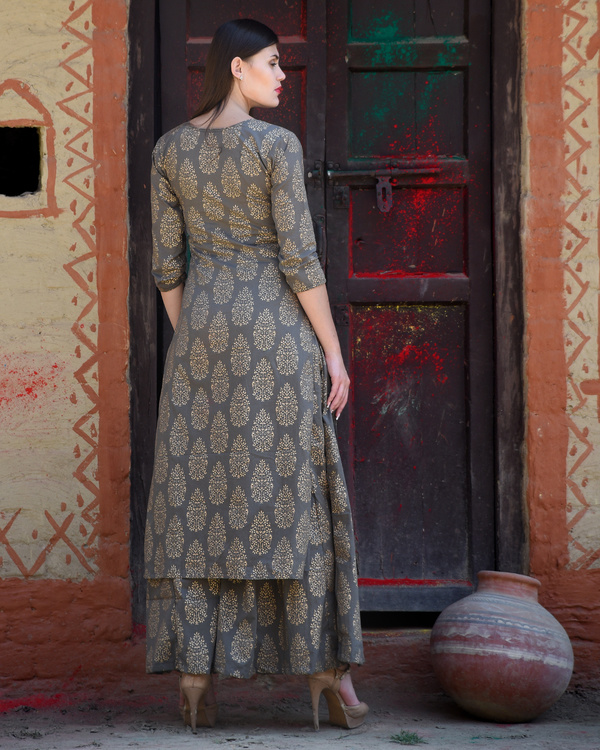 Grey block printed kurta with palazzos 2