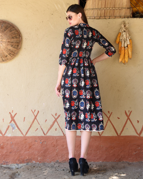 Black gathered kalamkari midi dress 2