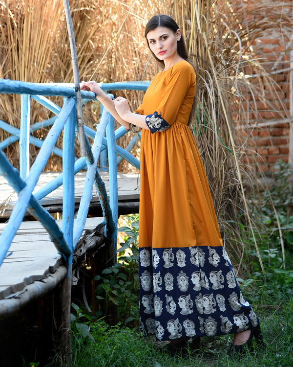 Orange rust gathered dress with kalamkari border 3