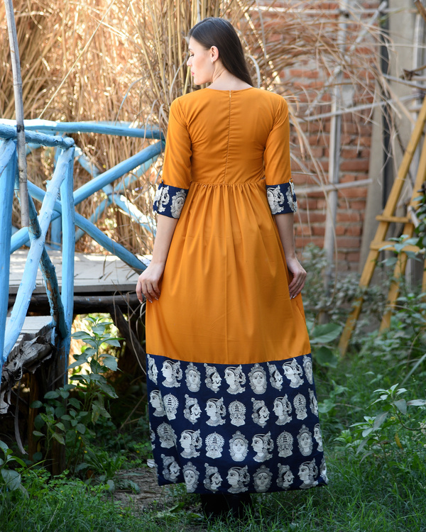 Orange rust gathered dress with kalamkari border 2