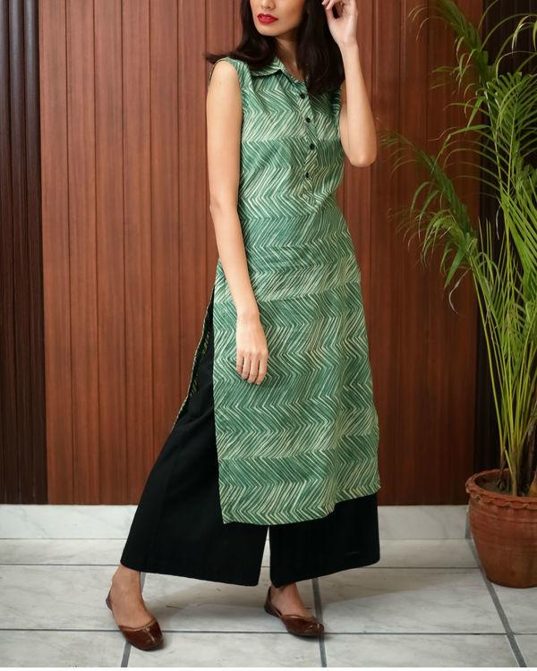 Green shibori printed tunic 6