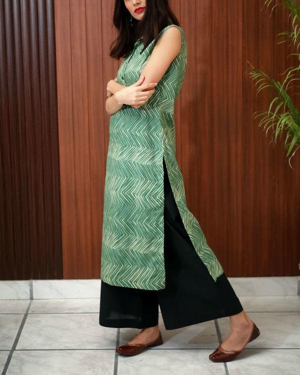 Green shibori printed tunic 5