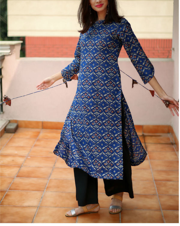 Blue tasselled kurta 1