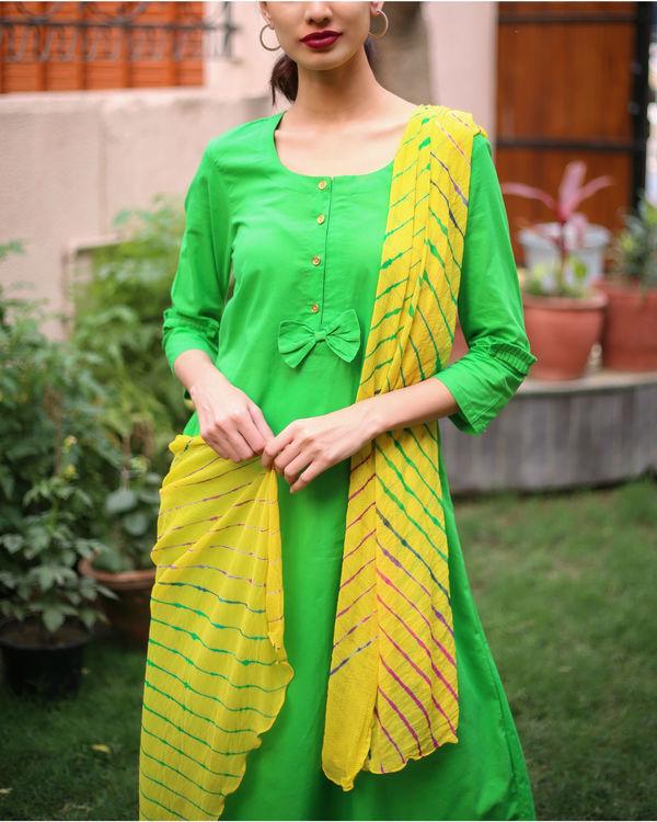 Yellow lehriya kurta set 1