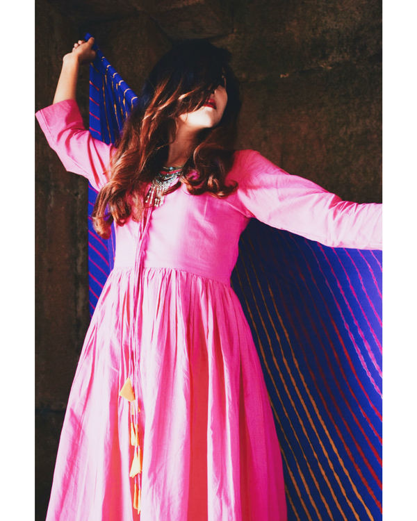 Pink anarkali with handmade dupatta 2