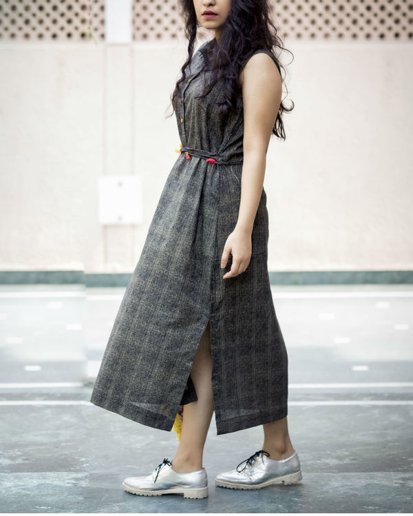 Charcoal belted dress 2