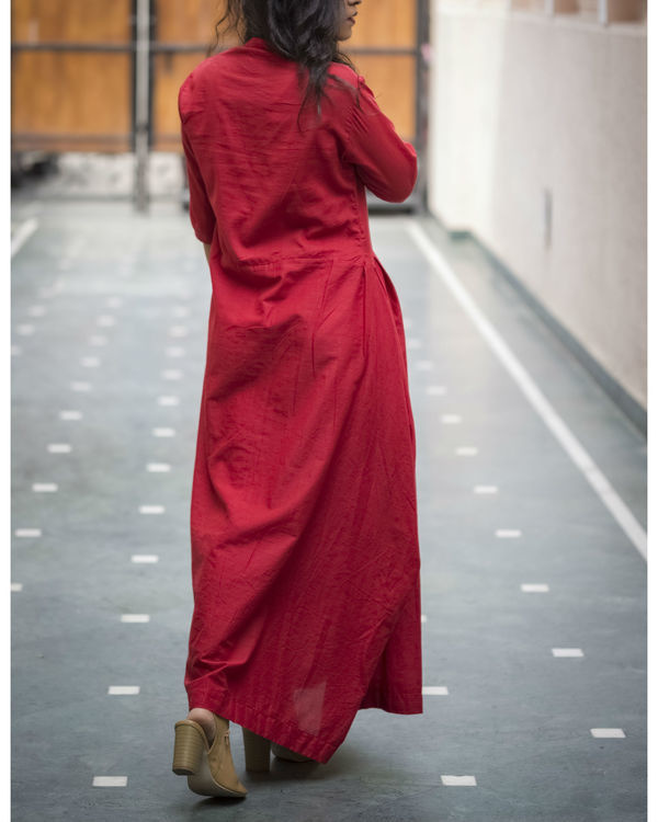 Maroon side cowl gown 1