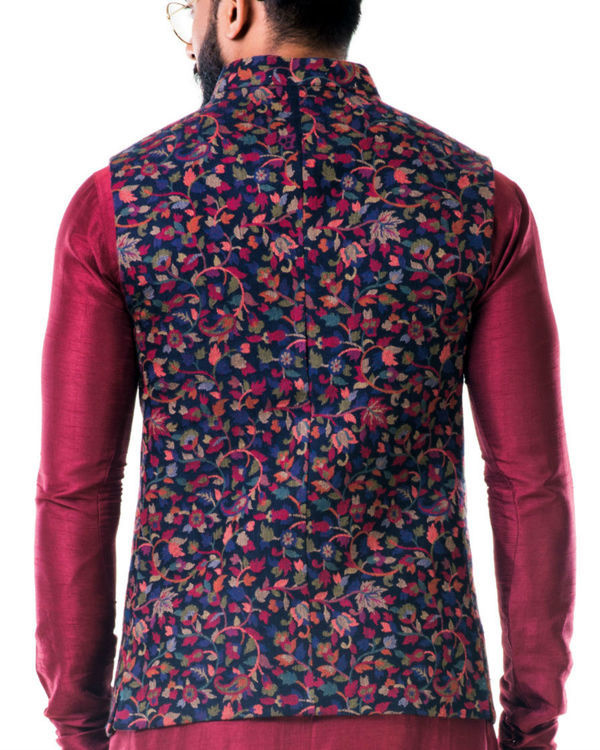 Multicolour leaf weave pashmina nehru jacket 1