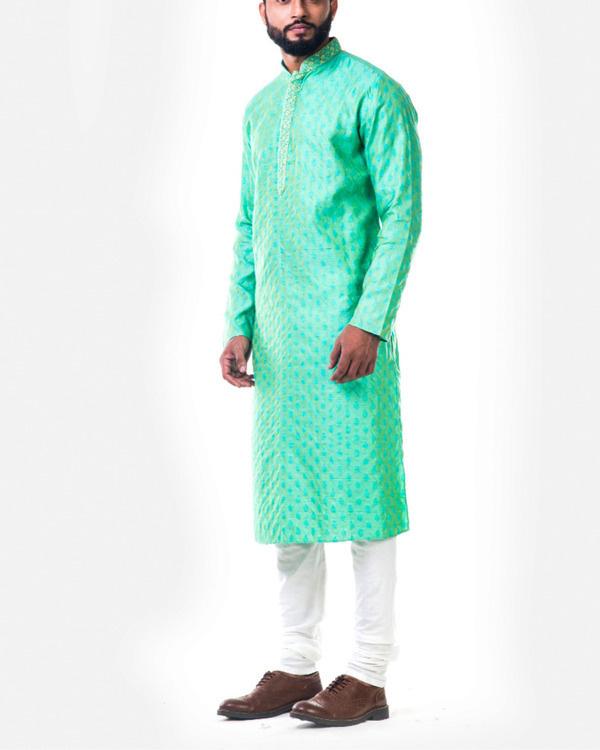 Pastel green thread embroidery kurta set 2