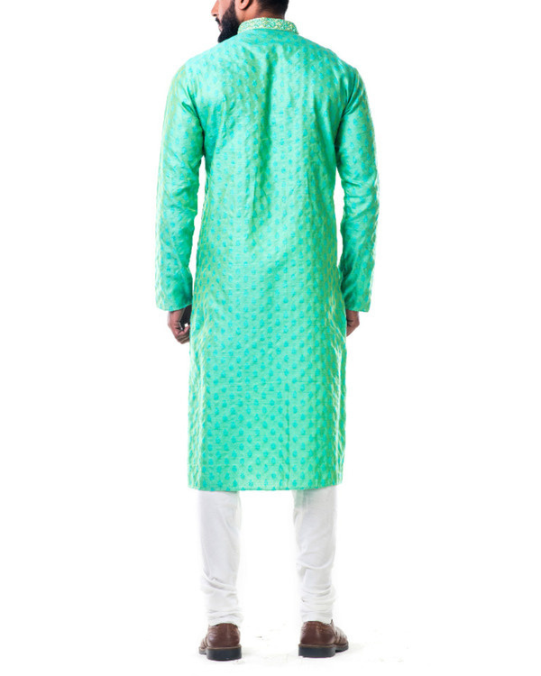 Pastel green thread embroidery kurta set 1