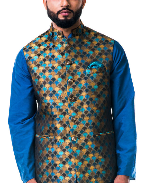 Blue katan silk kurta set with a multicolour scallop nehru jacket 3