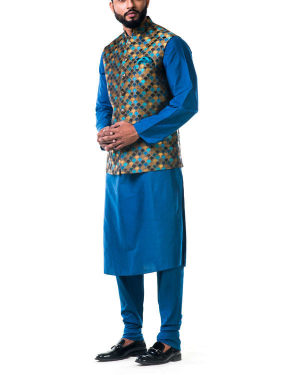 Blue katan silk kurta set with a multicolour scallop nehru jacket 2