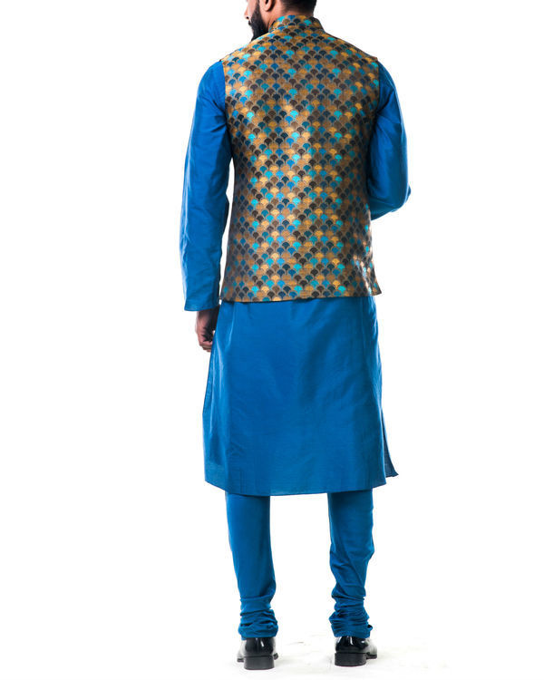 Blue katan silk kurta set with a multicolour scallop nehru jacket 1