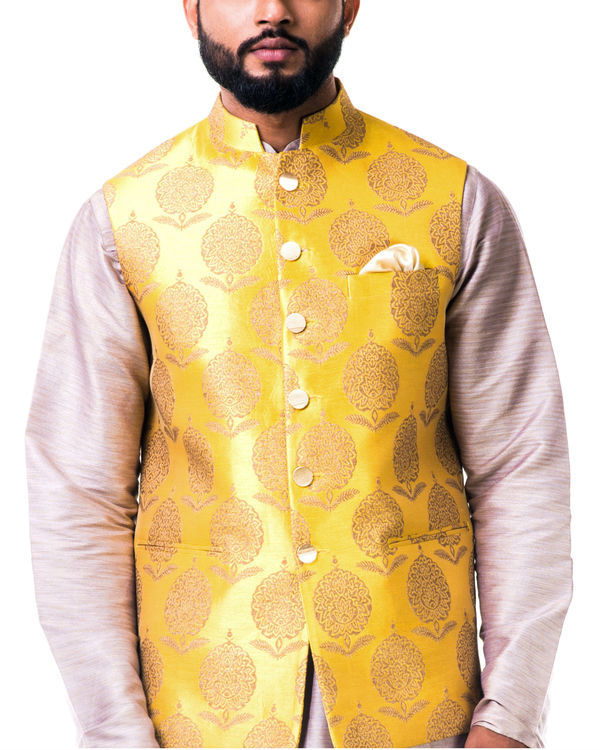 Mauve cotton silk kurta set with a bright yellow brocade nehru jacket 3