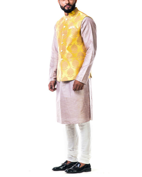 Mauve cotton silk kurta set with a bright yellow brocade nehru jacket 2