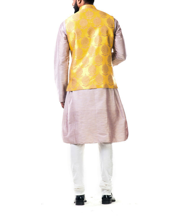 Mauve cotton silk kurta set with a bright yellow brocade nehru jacket 1