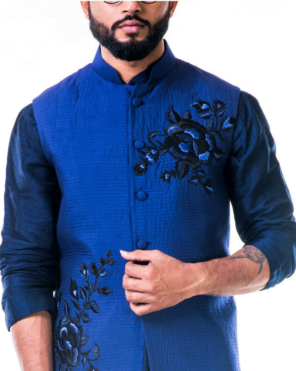 Blue quilted jacket with thread work embroidery 3