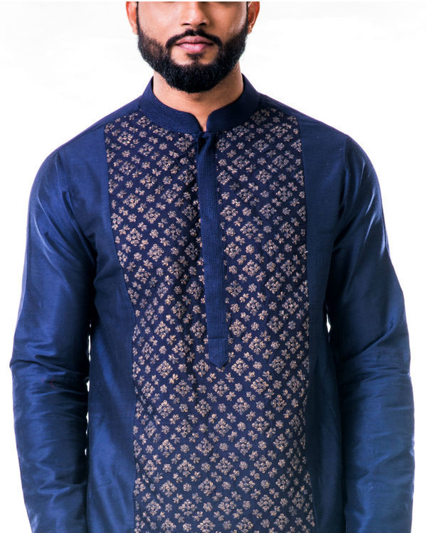 Blue gold embroidery silk kurta set 3