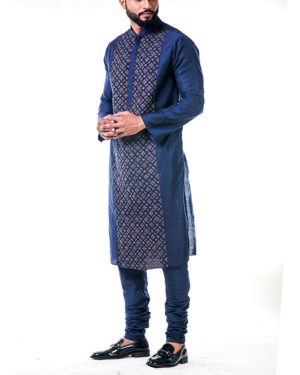 Blue gold embroidery silk kurta set 2
