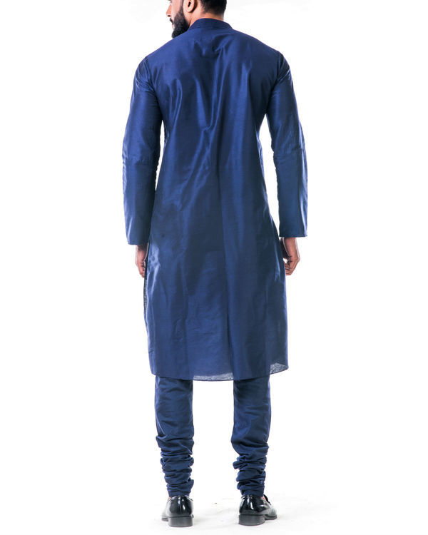 Blue gold embroidery silk kurta set 1